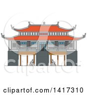 Clipart Of A Indonesian Landmark Vinh Nghiem Pagoda Royalty Free Vector Illustration by Vector Tradition SM