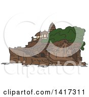 Clipart Of A Landmark Tanah Lot Temple Royalty Free Vector Illustration