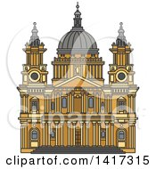 Clipart Of A Great Britain Landmark St Paul Cathedral Royalty Free Vector Illustration