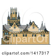 Clipart Of A German Landmark Marienburg Castle Royalty Free Vector Illustration by Vector Tradition SM