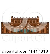 Clipart Of A German Landmark Kunsthalle Museum Royalty Free Vector Illustration