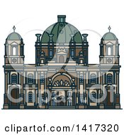 Clipart Of A German Landmark Berlin Cathedral Church Royalty Free Vector Illustration by Vector Tradition SM