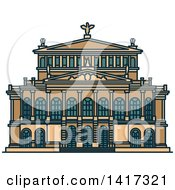 Clipart Of A German Landmark Alte Oper Concert Hall Royalty Free Vector Illustration by Vector Tradition SM