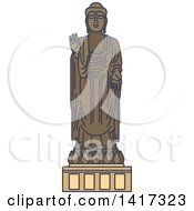 Clipart Of A Japanese Landmark Great Buddha Statue In Ushiku Royalty Free Vector Illustration