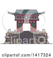 Clipart Of A Japanese Landmark Deva Gate Of Kiyomizu Dera Temple Royalty Free Vector Illustration