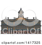 Clipart Of A Dutch Landmark Royal Palace In Amsterdam Royalty Free Vector Illustration by Vector Tradition SM