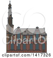 Clipart Of A Dutch Landmark Westerkerk Church Royalty Free Vector Illustration by Vector Tradition SM