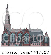 Clipart Of A Dutch Landmark Oude Kerk Church Royalty Free Vector Illustration