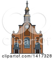 Clipart Of A Dutch Landmark Pilgrim Fathers Church Royalty Free Vector Illustration by Vector Tradition SM
