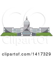 Clipart Of A American Landmark United States Capitol Royalty Free Vector Illustration