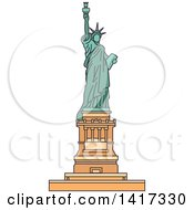 Clipart Of A American Landmark Statue Of Liberty Royalty Free Vector Illustration by Vector Tradition SM
