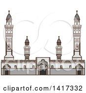 Clipart Of A Saudi Arabian Landmark Quba Mosque Royalty Free Vector Illustration