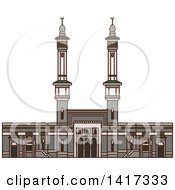 Clipart Of A Saudi Arabian Landmark Great Mosque Of Mecca Royalty Free Vector Illustration