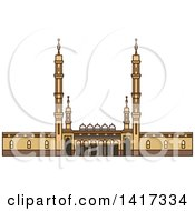 Clipart Of A Saudi Arabian Landmark Prophets Mosque Royalty Free Vector Illustration