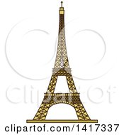 Clipart Of A Landmark Eiffel Tower Royalty Free Vector Illustration
