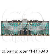 Clipart Of A Landmark Winter Palace Royalty Free Vector Illustration