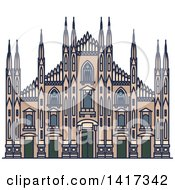Clipart Of A Italian Landmark Cathedral Of Milan Royalty Free Vector Illustration by Vector Tradition SM