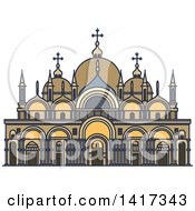 Clipart Of A Italian Landmark St Marks Basilica Royalty Free Vector Illustration