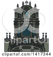 Clipart Of A Portugal Landmark Clerigos Church Royalty Free Vector Illustration