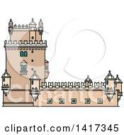 Clipart Of A Portugal Landmark Belem Tower Royalty Free Vector Illustration