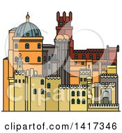 Clipart Of A Portugal Landmark Pena Palace Royalty Free Vector Illustration