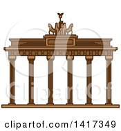 Clipart Of A German Landmark Brandenburg Gate Royalty Free Vector Illustration by Vector Tradition SM