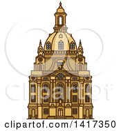 Clipart Of A German Landmark Frauenkirche Royalty Free Vector Illustration by Vector Tradition SM