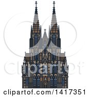 Clipart Of A German Landmark Cologne Cathedral Royalty Free Vector Illustration by Vector Tradition SM
