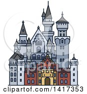Clipart Of A German Landmark Neuschwanstein Castle Royalty Free Vector Illustration by Vector Tradition SM