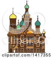 Clipart Of A Russian Landmark Church Of The Savior On Spilled Blood Royalty Free Vector Illustration
