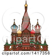 Clipart Of A Russian Landmark Cathedral Of Vasily The Blessed Royalty Free Vector Illustration