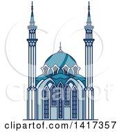 Clipart Of A Russian Landmark Qolsharif Mosque Royalty Free Vector Illustration