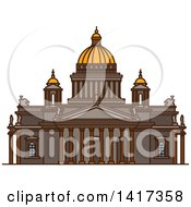 Clipart Of A Russian Landmark Saint Isaacs Cathedral Royalty Free Vector Illustration