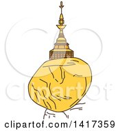 Clipart Of A Burma Landmark Kyaiktiyo Pagoda Golden Rock Royalty Free Vector Illustration by Vector Tradition SM
