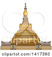 Clipart Of A Burma Landmark Shwezigon Pagoda Royalty Free Vector Illustration by Vector Tradition SM