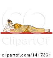 Clipart Of A Burma Landmark Statue Of Reclining Buddha Royalty Free Vector Illustration
