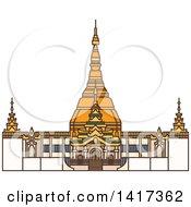 Clipart Of A Burma Landmark Bagan Royalty Free Vector Illustration