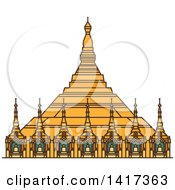 Clipart Of A Burma Landmark Uppatasanti Pagoda Royalty Free Vector Illustration by Vector Tradition SM