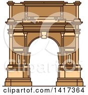 Clipart Of A Italian Landmark Ancient Arch Of Titus Royalty Free Vector Illustration by Vector Tradition SM