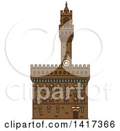 Clipart Of A Italian Landmark Palazzo Vecchio Royalty Free Vector Illustration by Vector Tradition SM