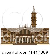 Clipart Of A Italian Landmark Church Of Santa Maria Maggiore Royalty Free Vector Illustration by Vector Tradition SM