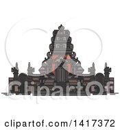 Clipart Of A Landmark Pura Rambut Siwi Royalty Free Vector Illustration