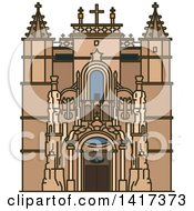 Clipart Of A Portuguese Landmark Santa Cruz Monastery Royalty Free Vector Illustration