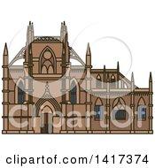 Clipart Of A Portuguese Landmark Monastery Of Batalha Royalty Free Vector Illustration