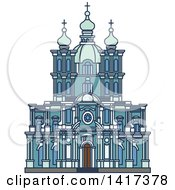 Clipart Of A Russian Landmark Smolny Convent Royalty Free Vector Illustration