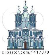 Clipart Of A Russian Landmark Smolny Convent Royalty Free Vector Illustration