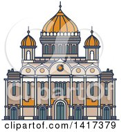 Clipart Of A Russian Landmark Christ The Saviour Royalty Free Vector Illustration
