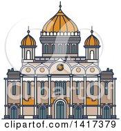 Clipart Of A Russian Landmark Christ The Saviour Royalty Free Vector Illustration