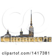 Clipart Of A Russian Landmark Palace Square Royalty Free Vector Illustration