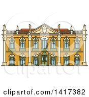 Clipart Of A Portuguese Landmark Palace Of Queluz Royalty Free Vector Illustration